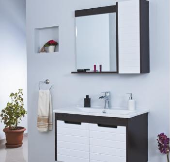 Ürün Özellikleri: Mat Membran Kaplama Frenli Kapaklar - Etajerli Ayna - Cam Raflı - Seramik Lavabo Uyumlu Lavabo: Thin 80 cm Lavabo