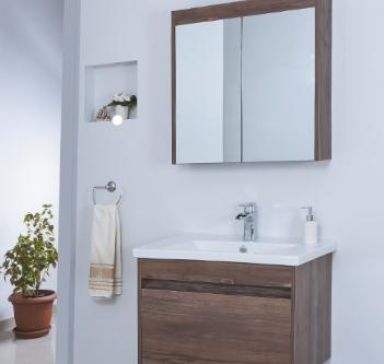 Ürün Özellikleri: Mat Kaplama MDF - Frenli Kapaklar - Dolaplı Ayna - Tam Açılım Frenli Çekmece - Seramik Lavabo Uyumlu Lavabo: Line 80 cm Lavabo