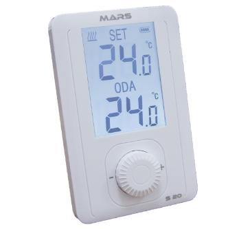 Mars oda termostatları, şık tasarımı hassas termostat özelliği ile kullanıcılarına kolaylık sağlamakta.